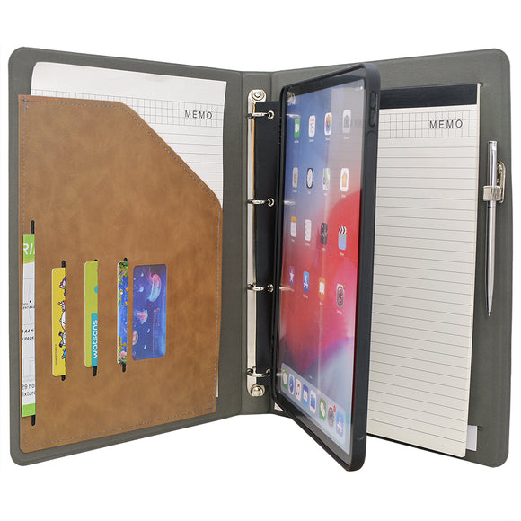 Tablet Organizer Padfolio with 4-Ring Binder, Binder Portfolio with Removable Tablet Holder for iPad 10.5