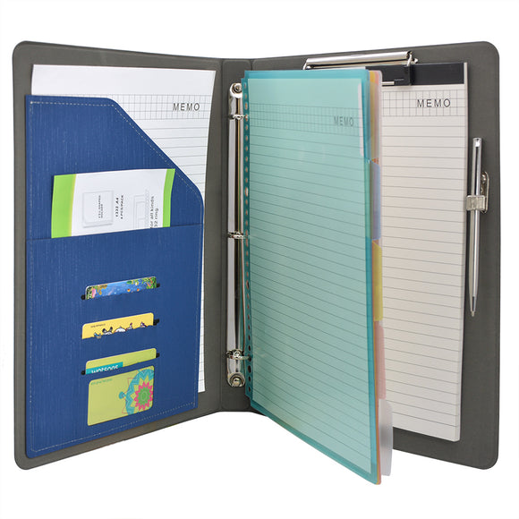 Binder Padfolio Organizer with Color File Folders, Business and Interview Portfolio with 3-Ring Binder, Clipboard
