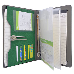 3-Ring Binder Padfolio with Expanded Document Bag, Business and Interview Portfolio with 3-Ring Binder