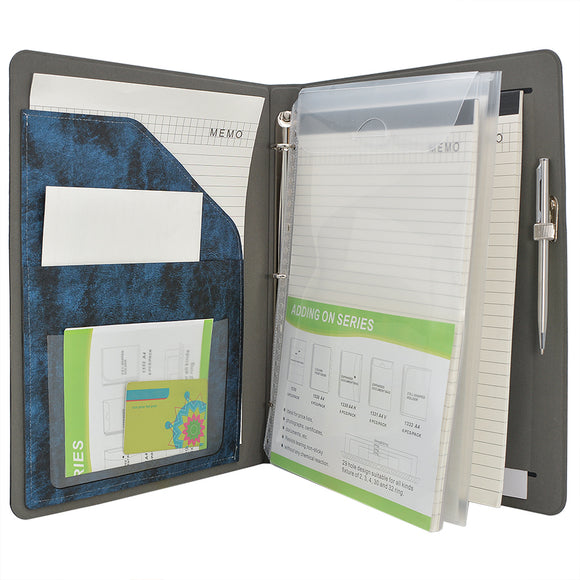 Ring Binder Padfolio with Expanded Document Bag, Organizer Business and Interview Portfolio with 3-Ring Binder
