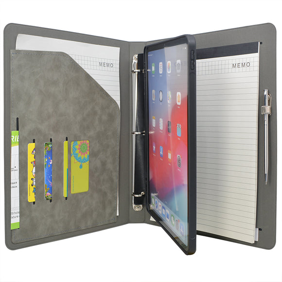 Tablet Organizer Padfolio with 3-Ring Binder, Binder Portfolio with Removable Tablet Holder for iPad 10.5