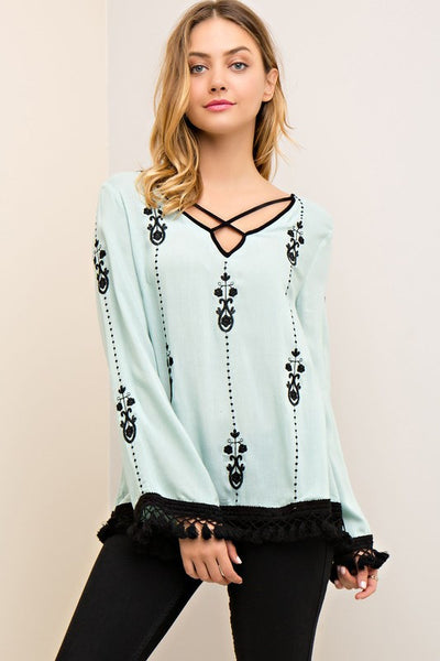 3/4 Length Top with Fringe