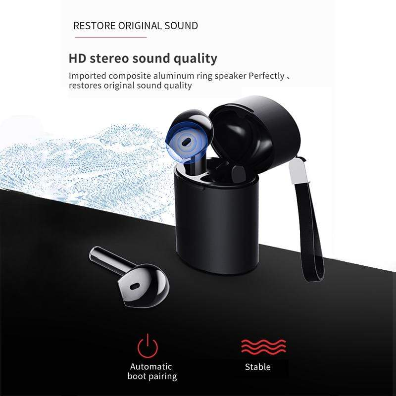 eprolo Black Auto Pairing Wireless Bluetooth Earphones