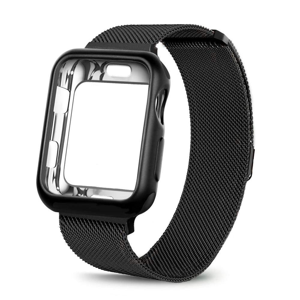 eprolo black / For apple watch 38mm Case+watch strap for Apple Watch 3 iwatch band 42mm 38mm Milanese Loop bracelet Stainless Steel watchband for Apple Watch 4 3 21