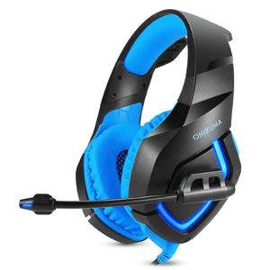 eprolo Headphones Gamer Blue LED Gaming Headset with Mic