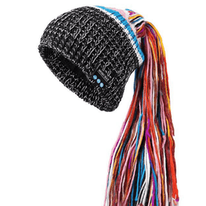 eprolo Knit Black Knit Tassel Bluetooth Beanie