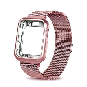 eprolo pink gold / For apple watch 38mm Case+watch strap for Apple Watch 3 iwatch band 42mm 38mm Milanese Loop bracelet Stainless Steel watchband for Apple Watch 4 3 21