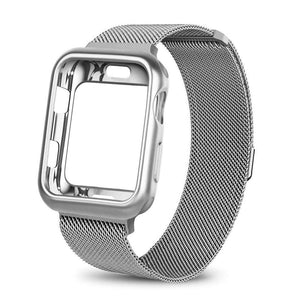 eprolo silver / For apple watch 38mm Case+watch strap for Apple Watch 3 iwatch band 42mm 38mm Milanese Loop bracelet Stainless Steel watchband for Apple Watch 4 3 21