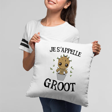Coussin Je s'appelle Groot Blanc