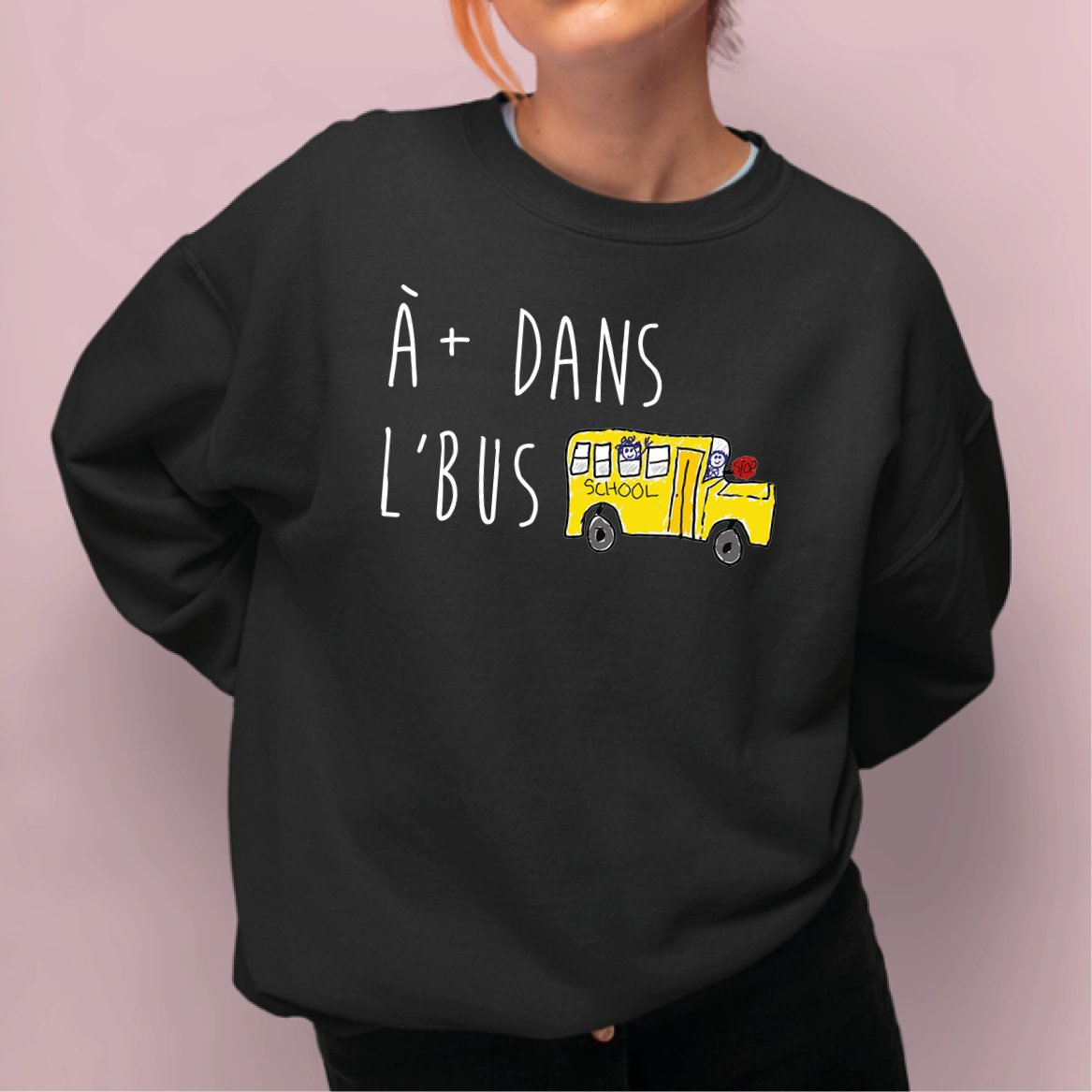 Sweat Adulte À plus dans l'bus Noir