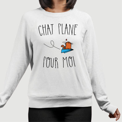 Sweat Adulte Chat plane pour moi Blanc