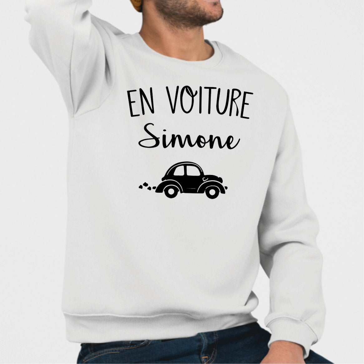 Sweat Adulte En voiture Simone Blanc