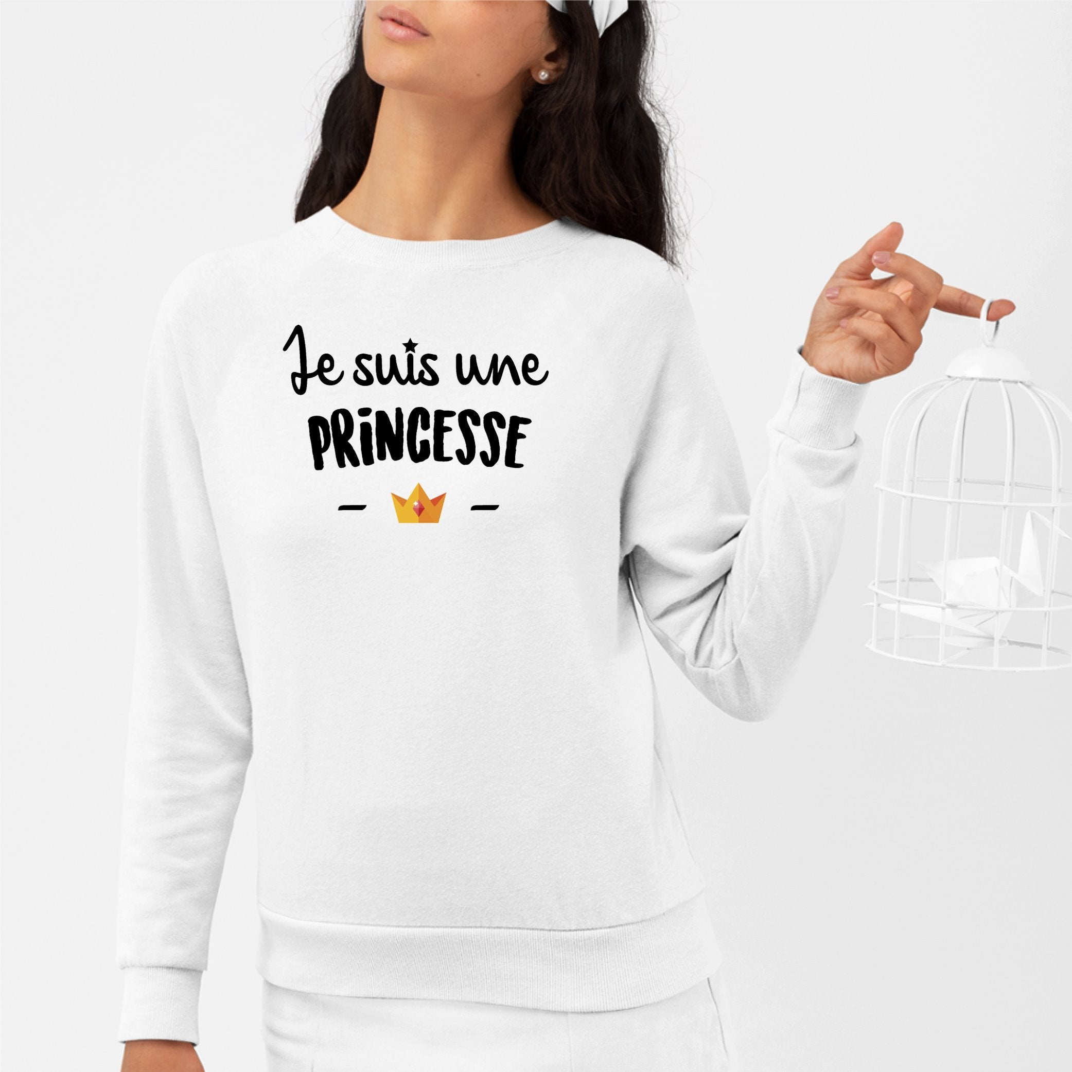Sweat Adulte Je suis une princesse Blanc