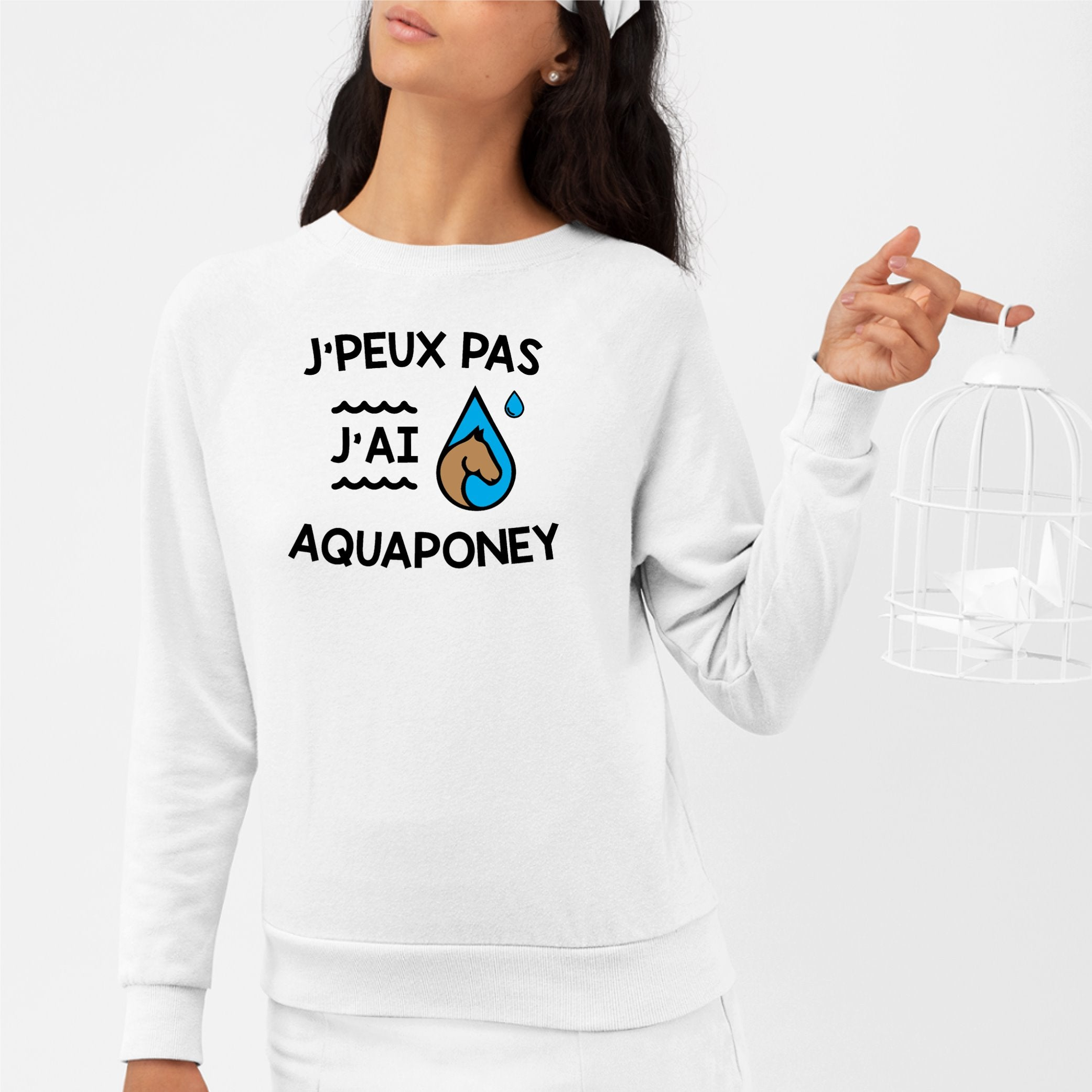 Sweat Adulte J'peux pas j'ai aquaponey Blanc