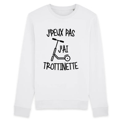 Sweat Adulte J'peux pas j'ai trottinette Blanc