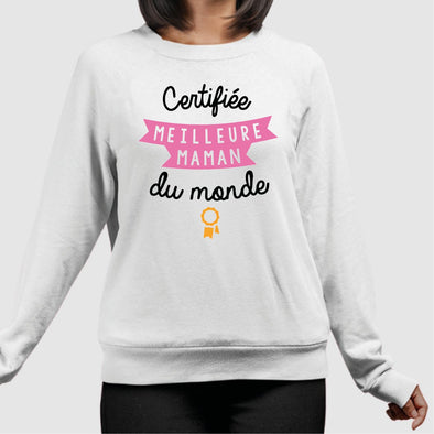 Sweat Adulte Meilleure maman Blanc