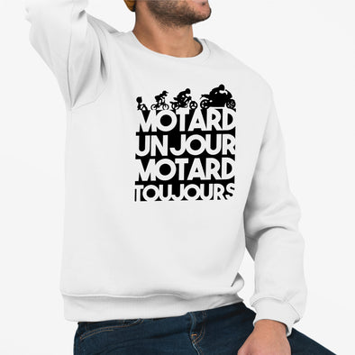 Sweat Adulte Motard un jour Blanc