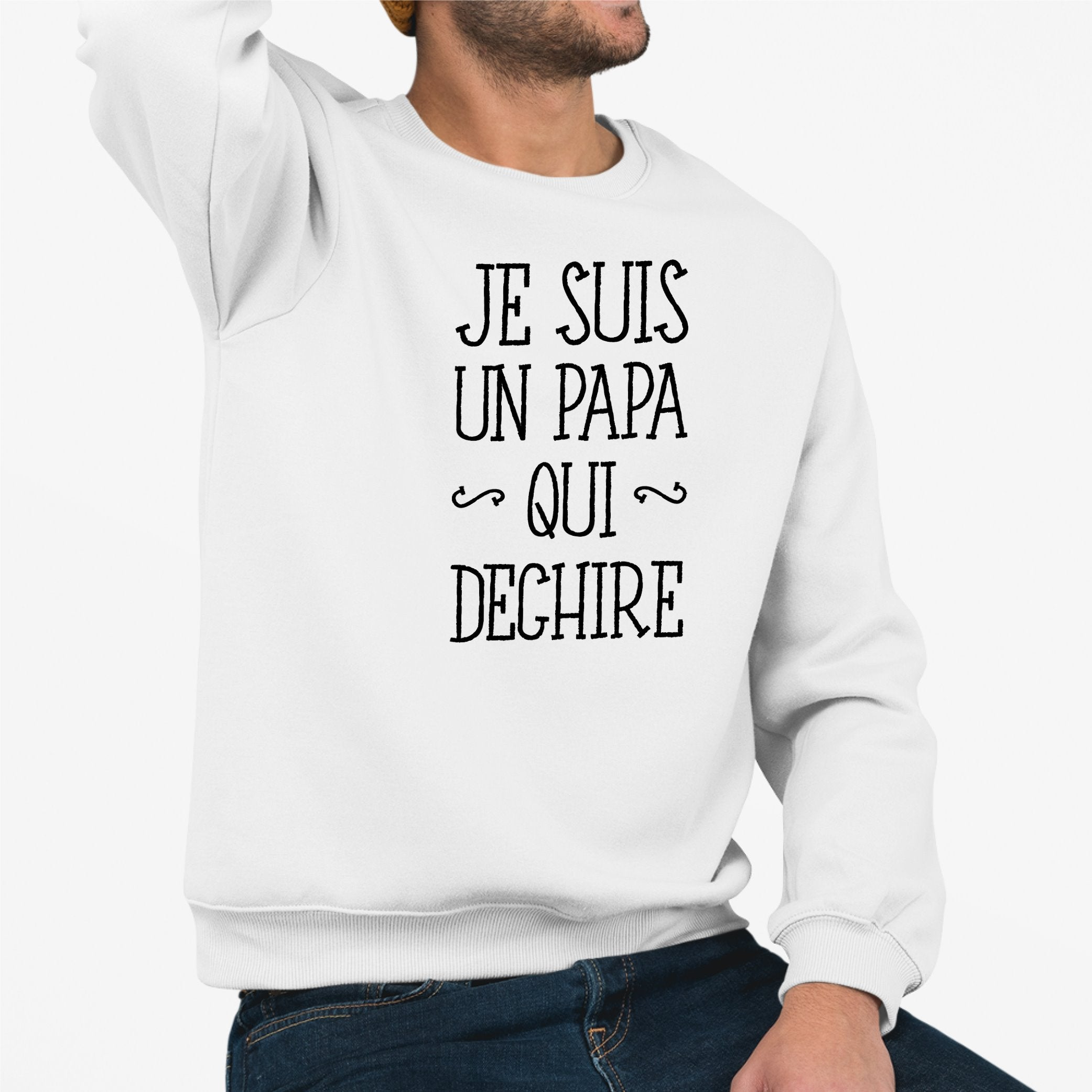 Sweat Adulte Papa qui déchire Blanc