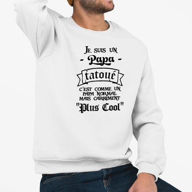 Sweat Adulte Papa tatoué Blanc