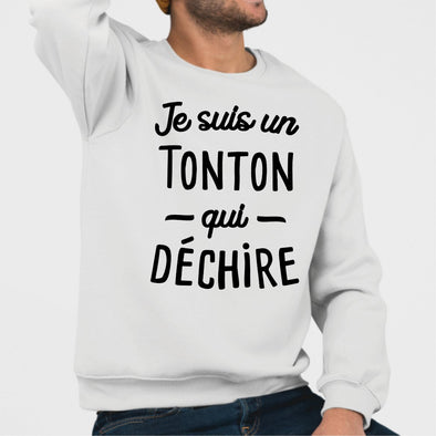 Sweat Adulte Tonton qui déchire Blanc