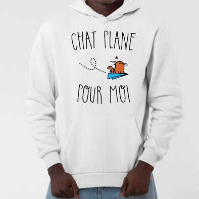 Sweat Capuche Adulte Chat plane pour moi Blanc