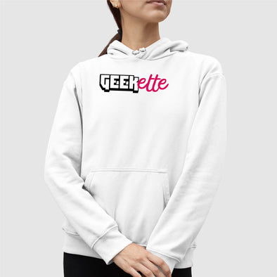 Sweat Capuche Adulte Geekette Blanc
