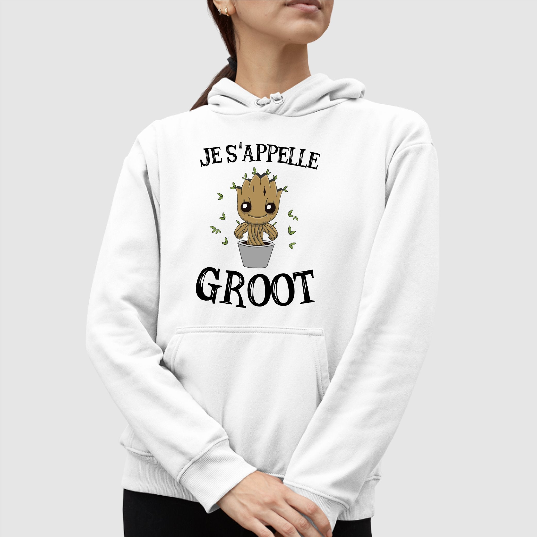 Sweat Capuche Adulte Je s'appelle Groot Blanc