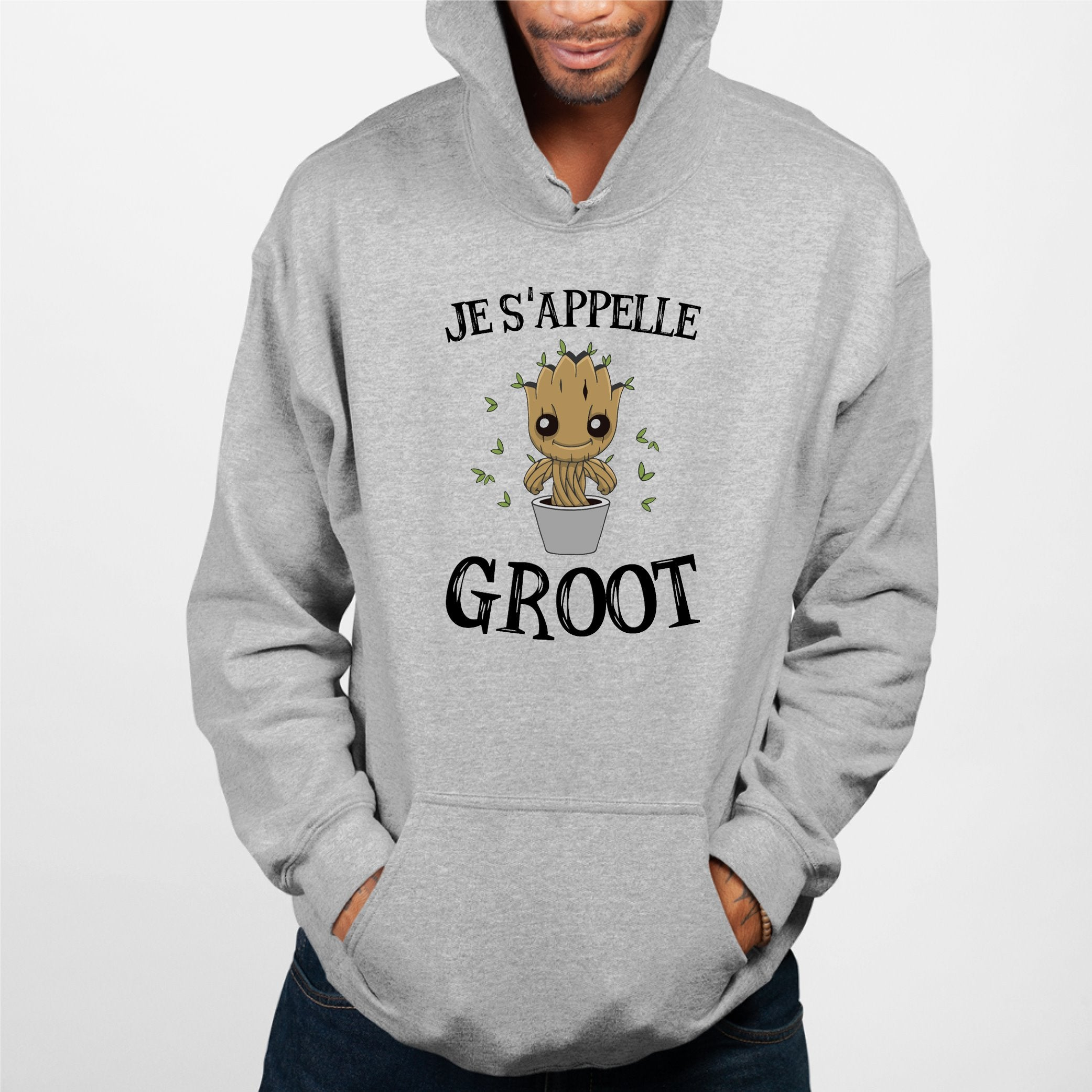 Sweat Capuche Adulte Je s'appelle Groot Gris