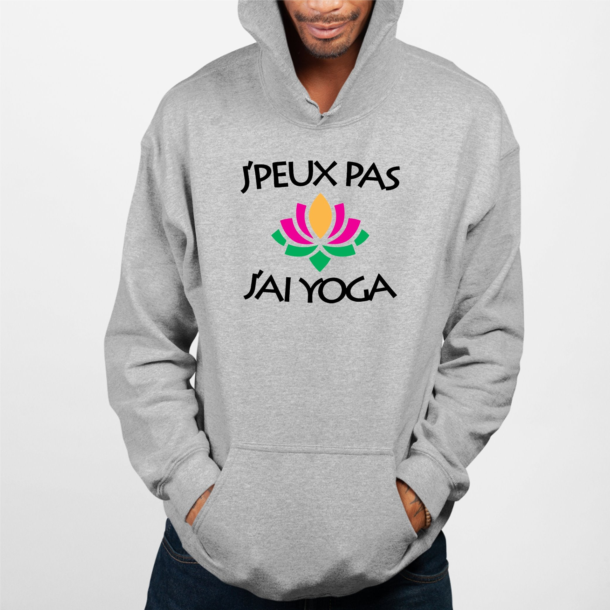 Sweat Capuche Adulte J'peux pas j'ai yoga Gris
