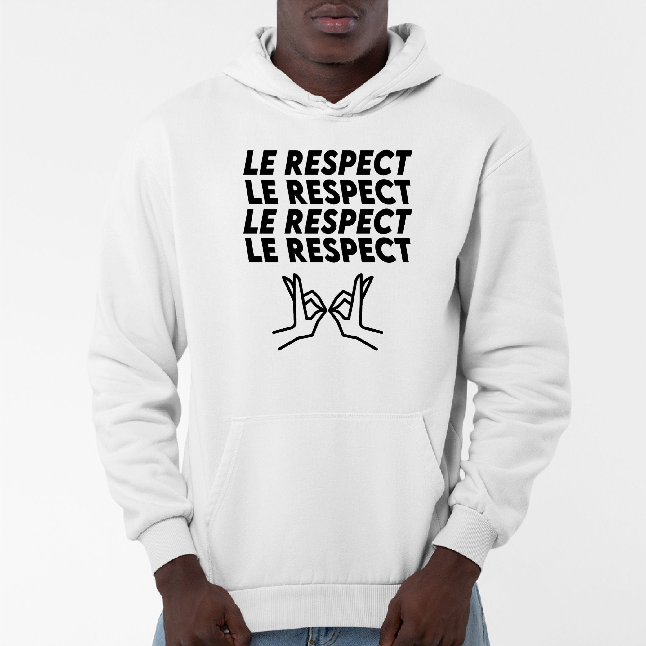 Sweat Capuche Adulte Le respect Blanc