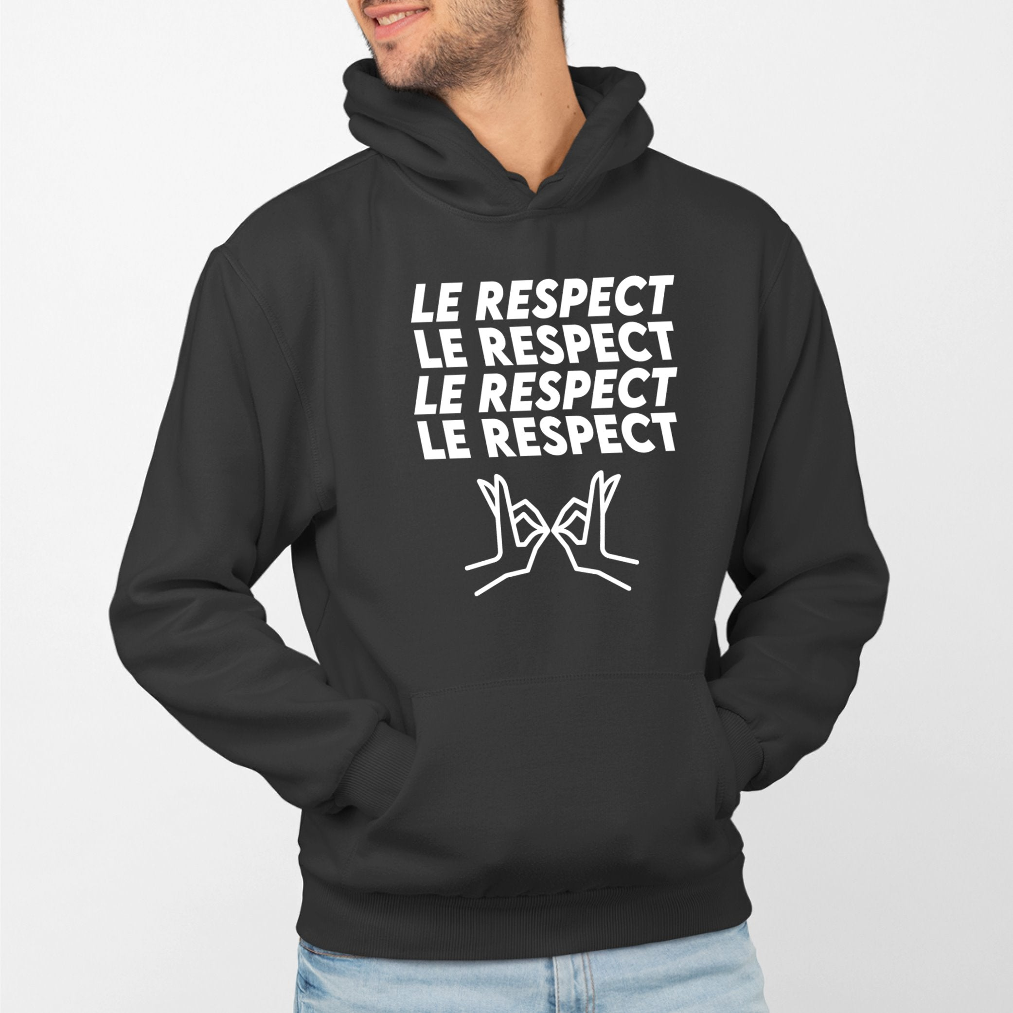 Sweat Capuche Adulte Le respect Noir