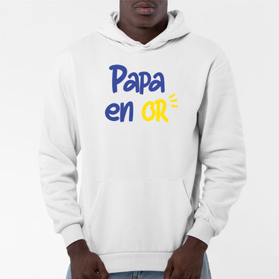 Sweat Capuche Adulte Papa en or Blanc