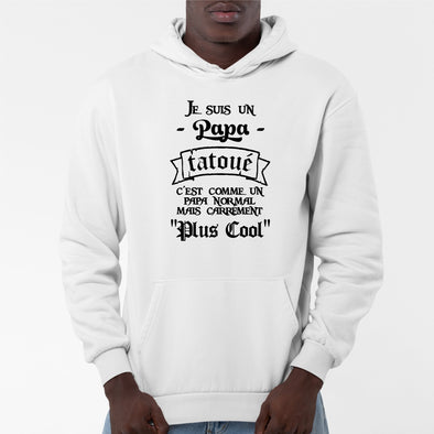 Sweat Capuche Adulte Papa tatoué Blanc