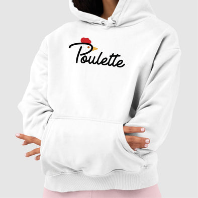 Sweat Capuche Adulte Poulette Blanc