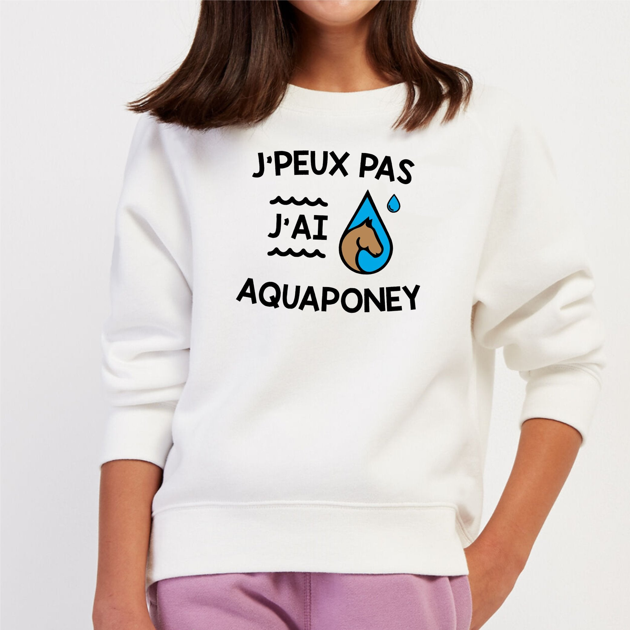 Sweat Enfant J'peux pas j'ai aquaponey Blanc