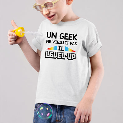 T-Shirt Enfant Geek level-up Blanc
