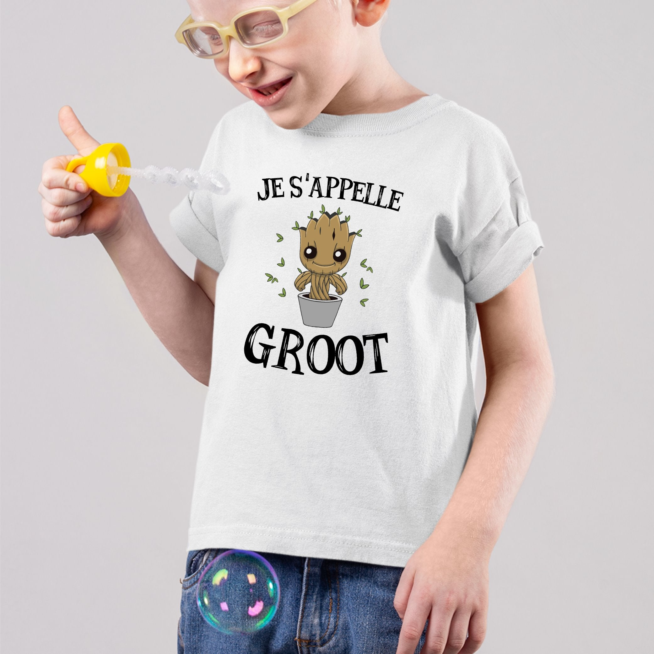 T-Shirt Enfant Je s'appelle Groot Blanc
