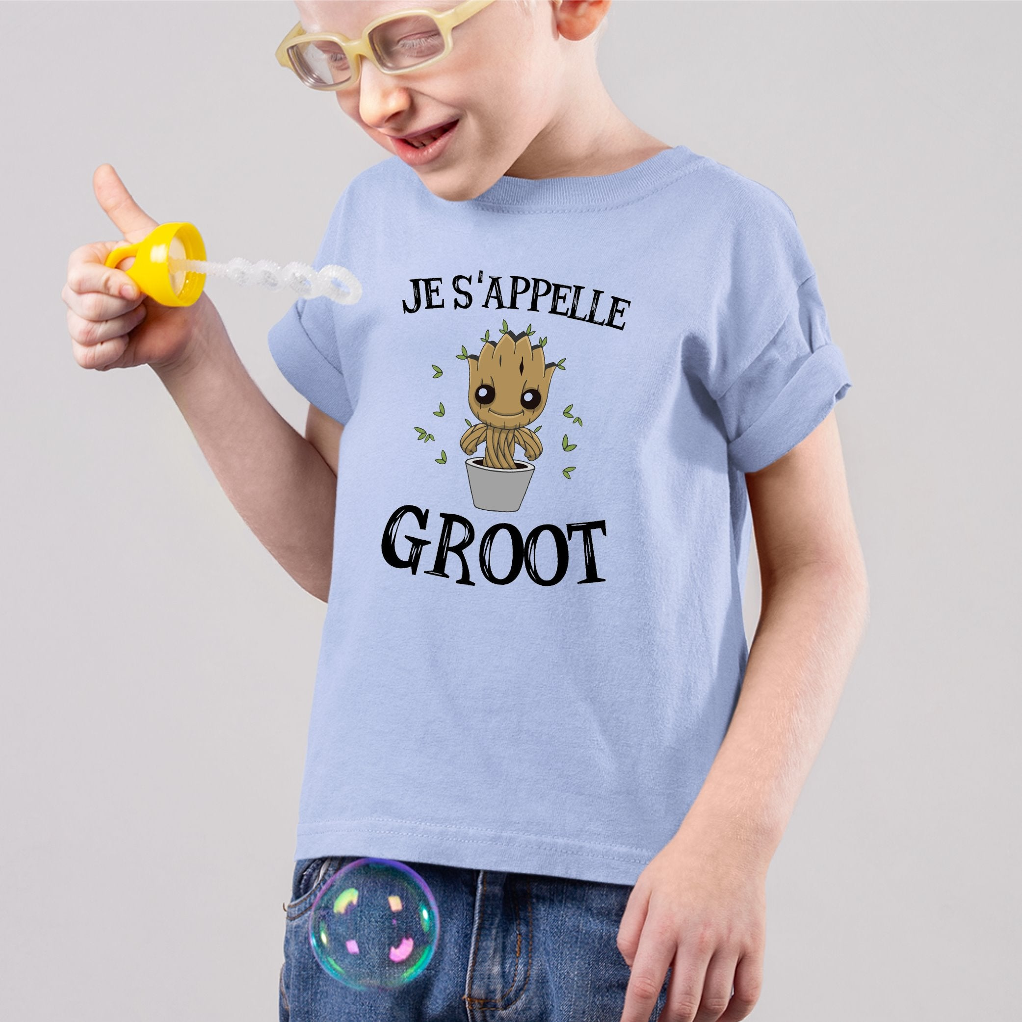T-Shirt Enfant Je s'appelle Groot Bleu