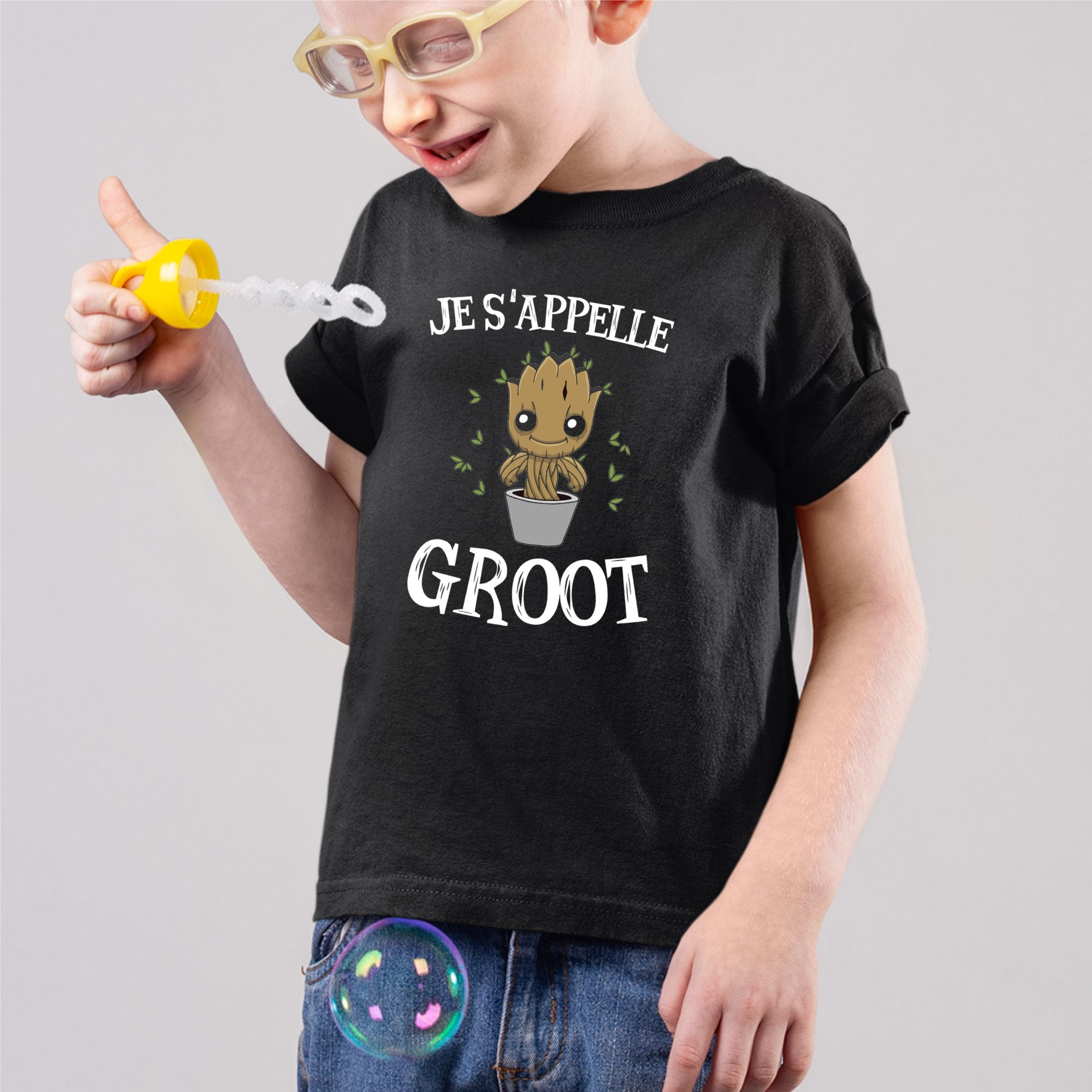 T-Shirt Enfant Je s'appelle Groot Noir