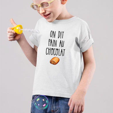 T-Shirt Enfant On dit pain au chocolat Blanc
