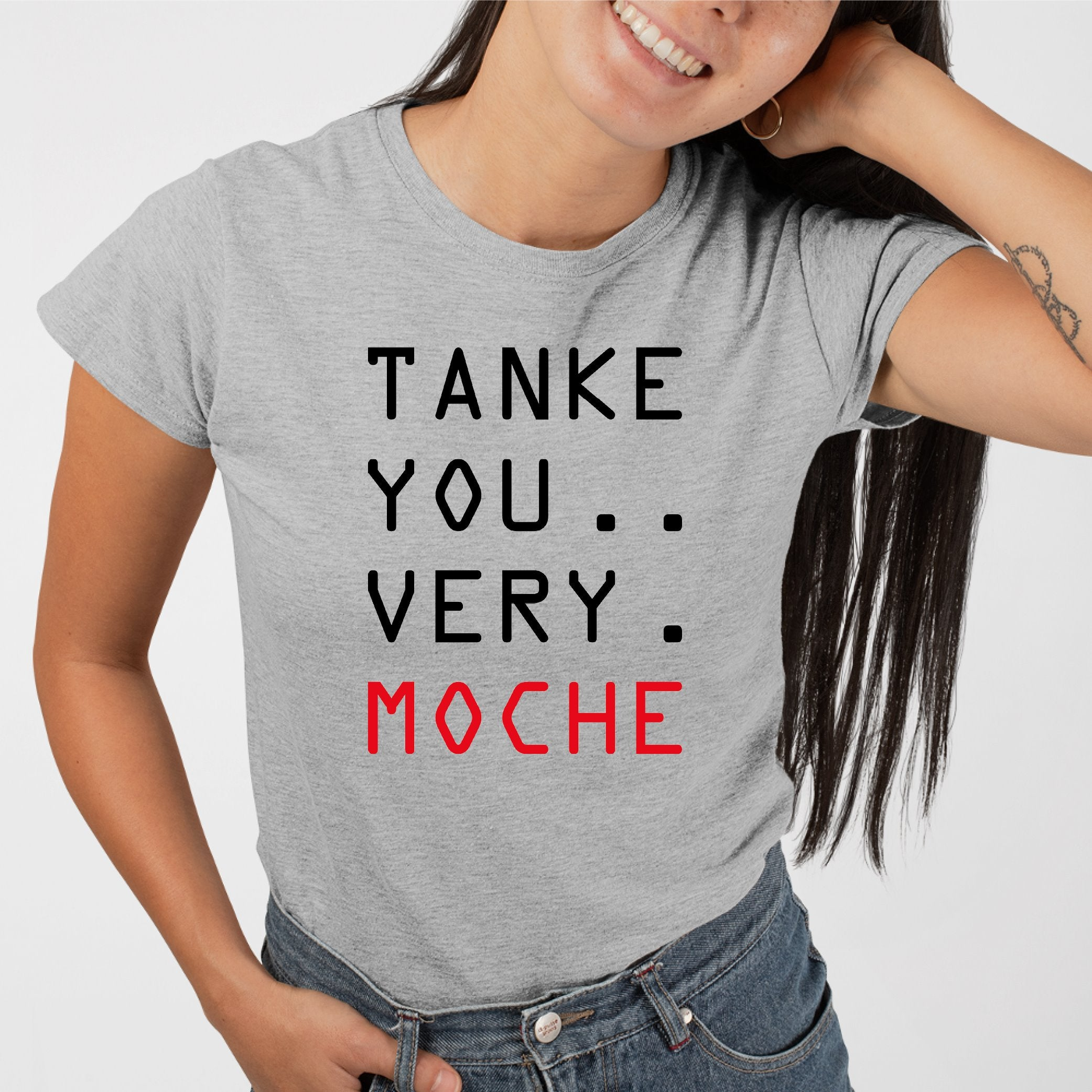 T-Shirt Femme Tanke you very moche Gris