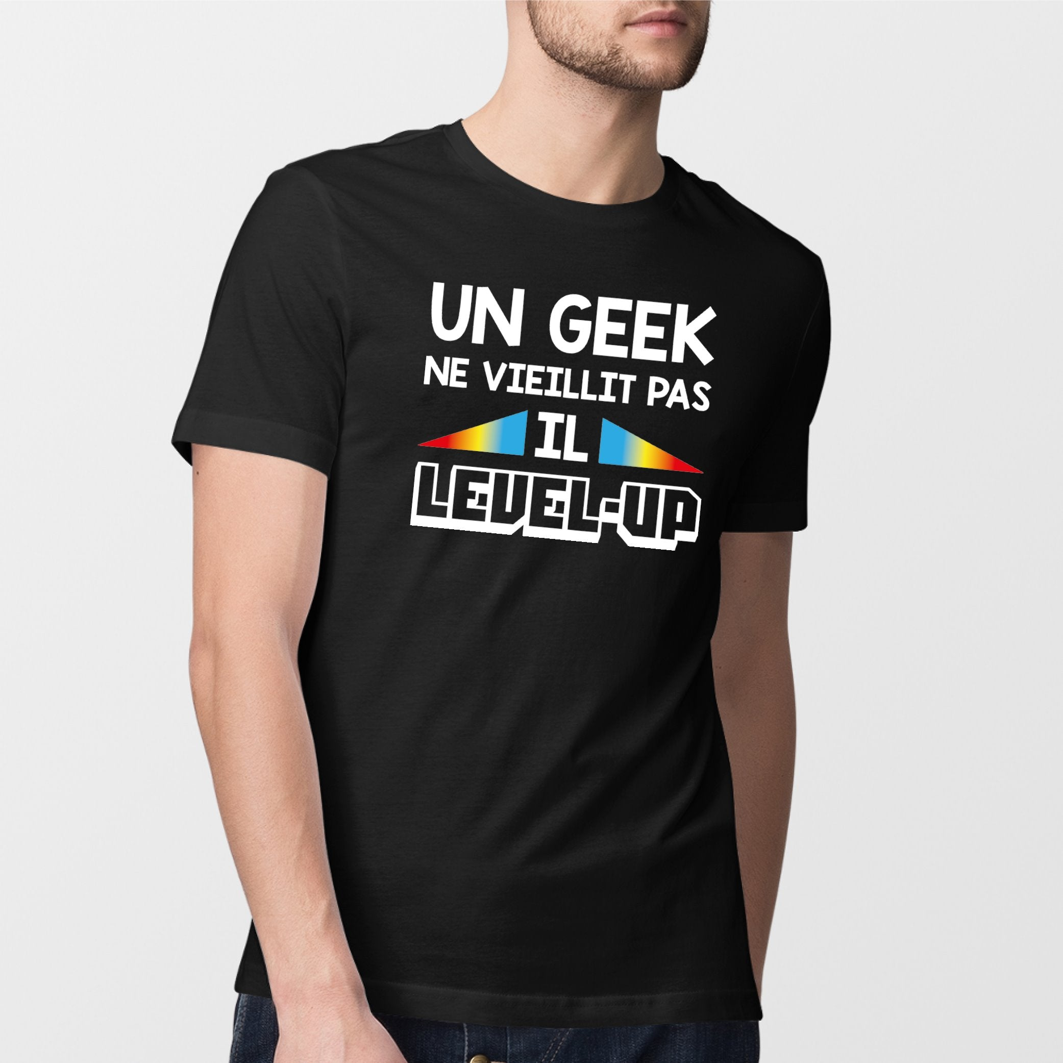 T-Shirt Homme Geek level-up Noir