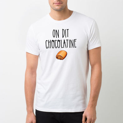 T-Shirt Homme On dit chocolatine Blanc