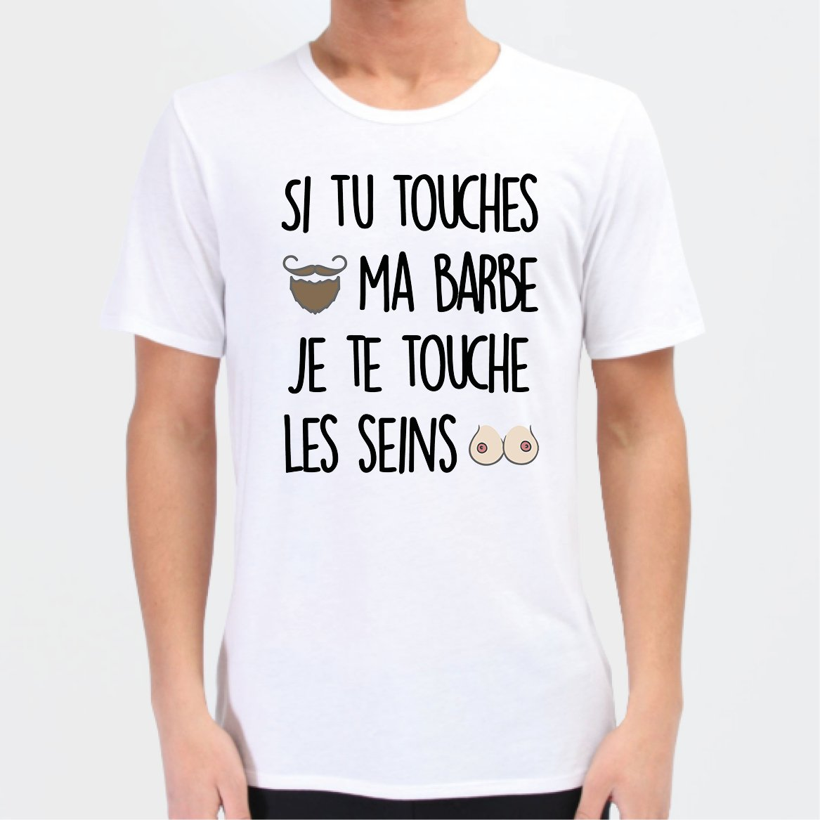 T-Shirt Homme Si tu touches ma barbe Blanc