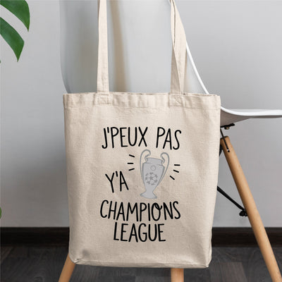 Tote bag J'peux pas y'a champions league