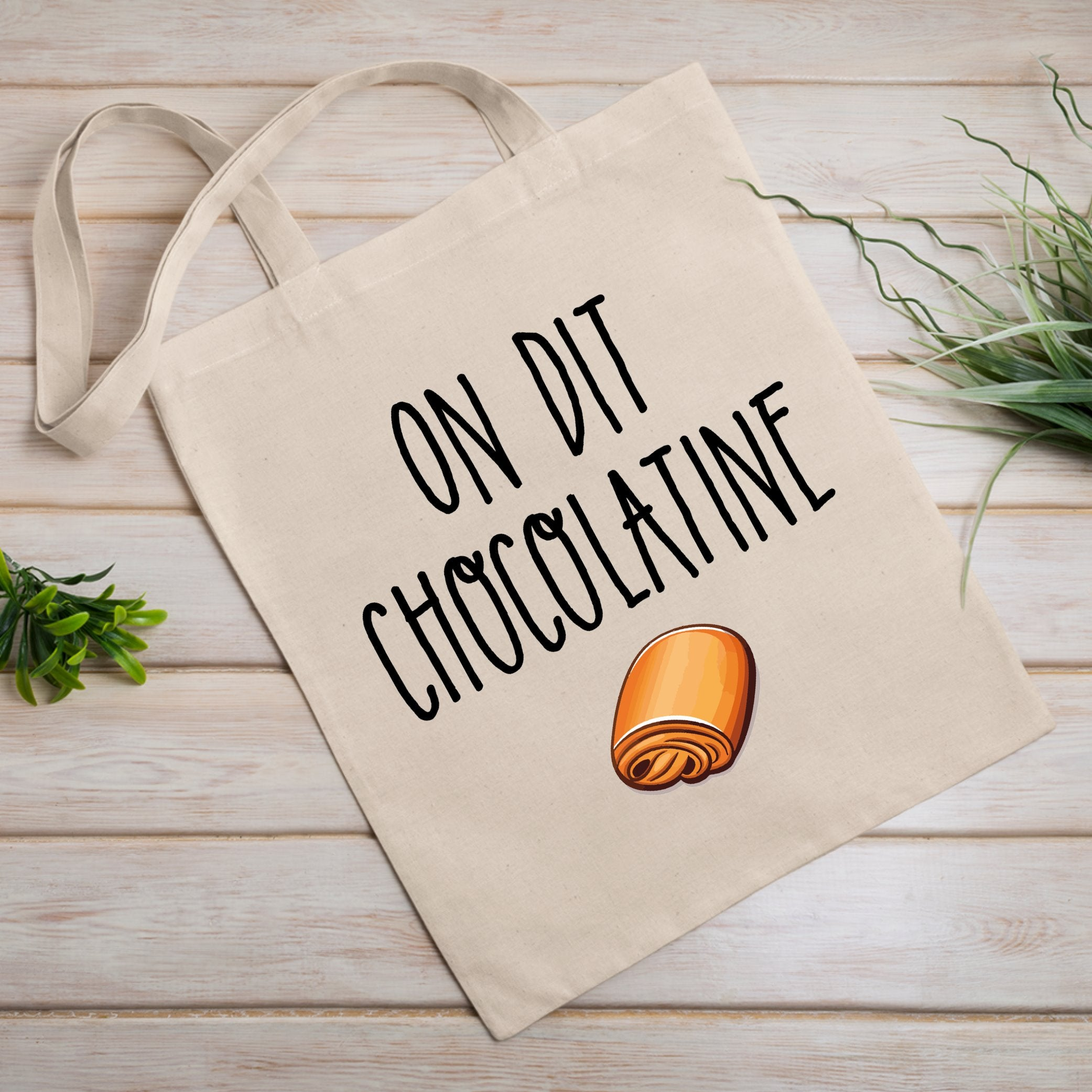 Tote bag On dit chocolatine Blanc