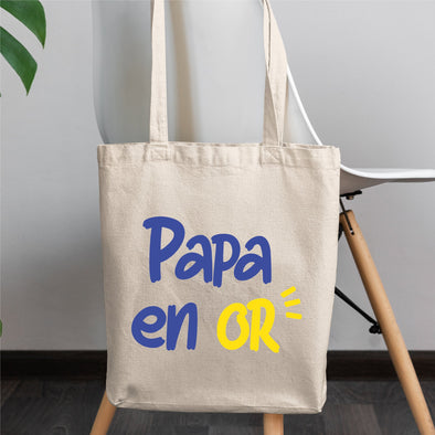 Tote bag Papa en or Blanc