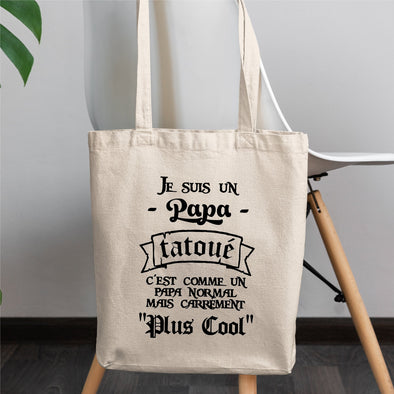Tote bag Papa tatoué Blanc