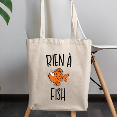 Tote bag Rien à fish Blanc