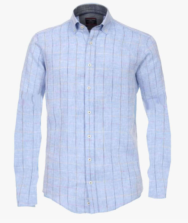 Casa Moda - Long Sleeve Linen Shirt - Blue Check